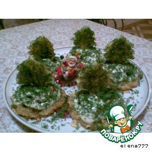 "Рецепт: Новогодняя закуска ""Елочки"""