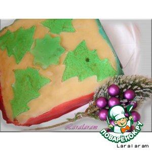 Рецепт: Торт марципановый (новогоднее оформление)
