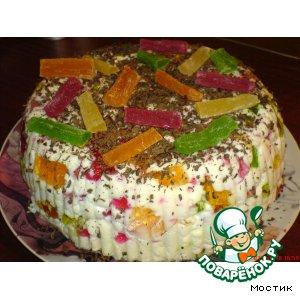 Рецепт: Желейный торт Мозайка
