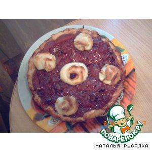 Рецепт: Пирог творожный с персиковым вареньем