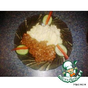 Рецепт: Картофельное пюре с фетой и мясным соусом