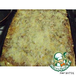 Рецепт: Лазанья с мясом, зеленью, помидорами