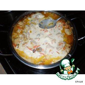 Рецепт: Куриное филе в сметане с маринованными шампиньонами
