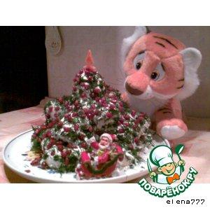 """Рецепт: Закусочный торт  """"Новогодняя красавица"""""""