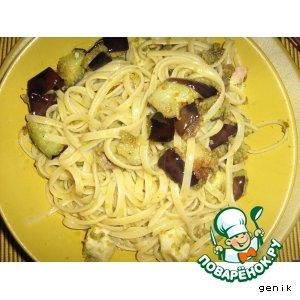Рецепт Паста с рыбным филе и баклажанами