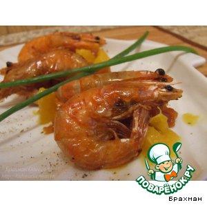 Рецепт: Креветки на гриле в апельсиновом соусе с чатни из персиков