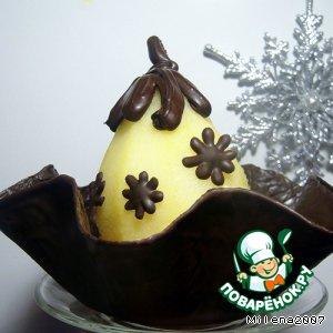 Груша в шоколаде с английским кремом