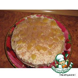 Рецепт: Классический французский бисквит со сметанным кремом и ананасами