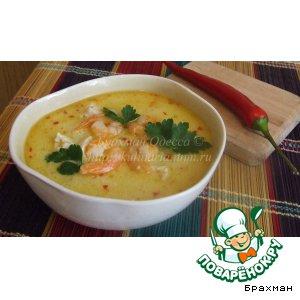 Рецепт: Кокосовый суп с креветками по-тайски