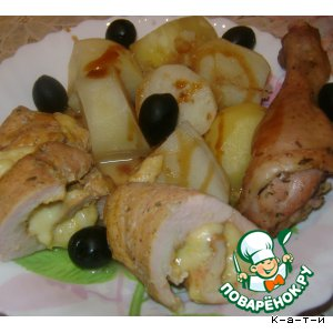 Rolls of chicken with potatoes