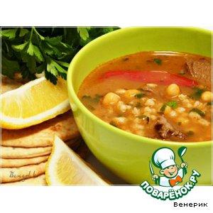 Рецепт: Суп из баранины с нутом и перловкой