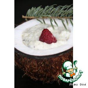 Рецепт: Кокосовый крем с малиной фламбе