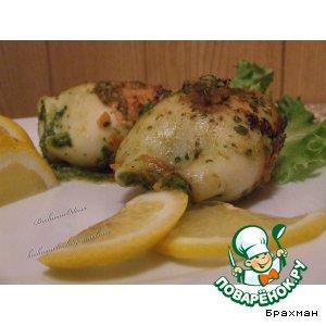 Рецепт: Кальмар с сыром и шпинатной начинкой