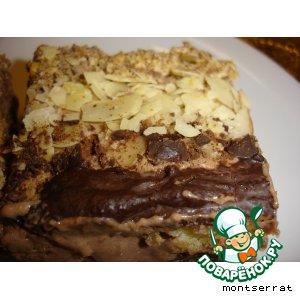 Рецепт: Песочный торт с шоколадным муссом и инжиром