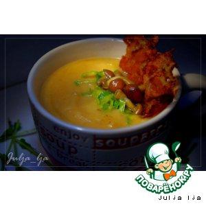 Рецепт: Сливочно-сырный крем-суп из овощей с опятами