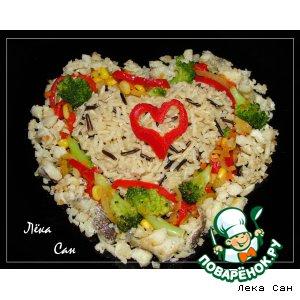 "Рецепт: Треска с овощами и диким рисом ""Горячие сердца"""