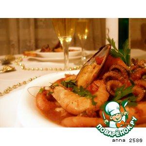 Рецепт: Соте из морепродуктов и рыбы