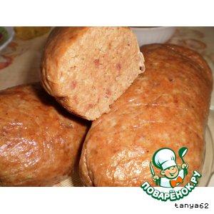 Рецепт: Домашняя печеночно-мясная колбаса