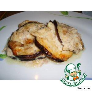 Рецепт: Баклажаны с курицей и сыром
