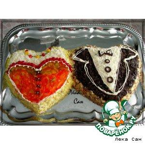 Рецепт: Салат-твикс Любящие сердца