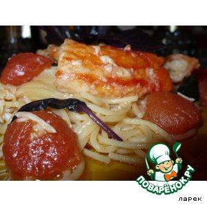 Рецепт: Спагетти с крабами