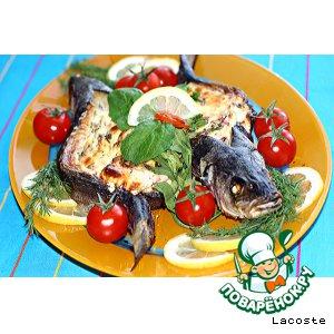 Рецепт: Сибас с творожно-сливочным сыром и овощами