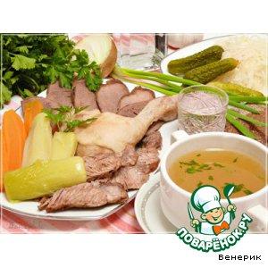Рецепт: Тройной Царский бульон и мясное ассорти