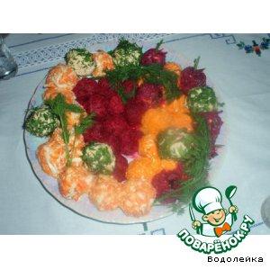 Рецепт Цветные закусочные шарики