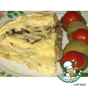 Рецепт: Картофель с шампиньонами в тройной заливке