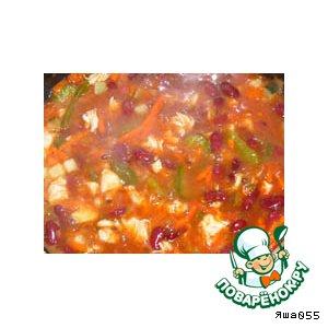 Рецепт: Куриный суп с фасолью