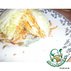 Рецепт: Слоeная капуста с овощами и гречневой кашей