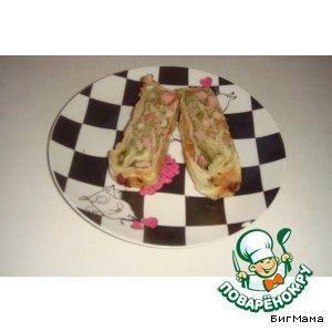 Рецепт: Слоеный рулет Маруся с сыром и окороком