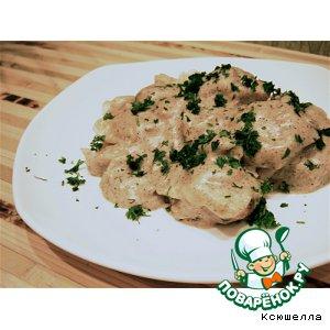 Рецепт: Домашние пельмени в грибном соусе