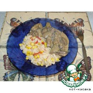 Рецепт: Печень в соусе с рисом по-мексикански