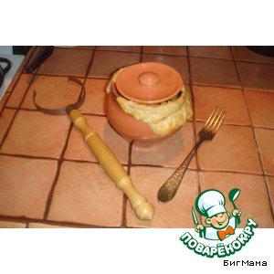 Рецепт: Запеченные горшочки с мидиями и языком