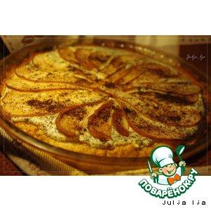 Рецепт: Медовый пирог с творогом, маком и грушами