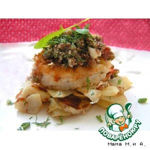Рецепт: Рыбные медальоны под ореховым крамблем