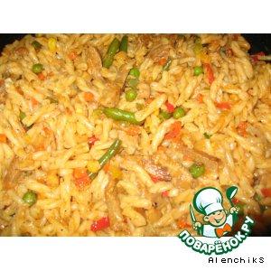 Рецепт: Макароны с мясом и овощами
