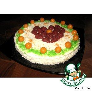 """Рецепт: Торт сметанно-кокосовый с ягодами """"От всего сердца"""""""