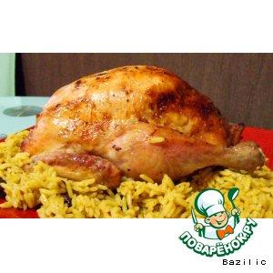 Рецепт: Запеченная курица с мандаринами и розмарином