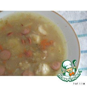Рецепт: Овсяный суп с сосисками и сладкими галушками