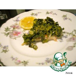 Рецепт: Рыбка под шпинатом