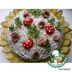 Рецепт: Торт постный блинчатый Грибная поляна
