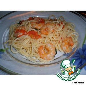 Рецепт: Спагетти с хвостами креветок