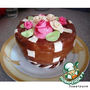 "Рецепт Торт ""Корзина с цветами"""