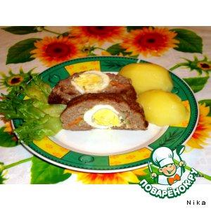 Рецепт: Рулет  из  фарша  с  яйцом