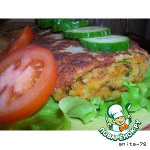 Рецепт: Рулет из картофельного теста с рыбно-грибной начинкой