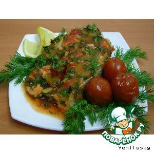 Рецепт: Семга под томатным соусом