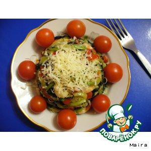 Рецепт: Теплый салат с цуккини и креветками