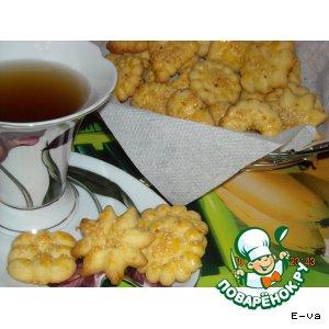 Рецепт: Песочное печенье с кунжутной обсыпкой